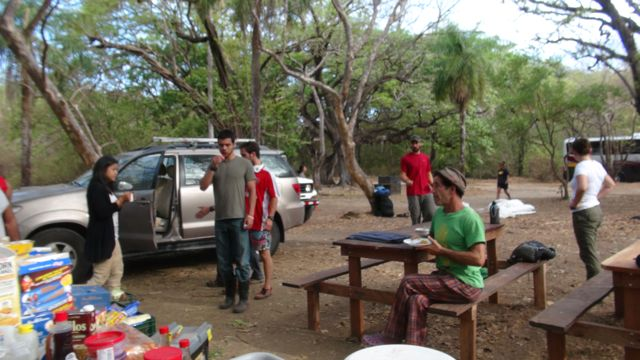 al the students help to clear the camp ground